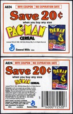 Early 80s Pac-Man Cereal Coupons