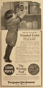 1915 Quaker Corn Puffs Witching Food Ad