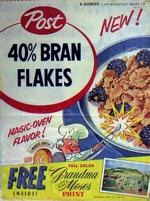 Post 40% Bran Flakes Box - Grandma Moses