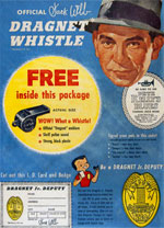 1955 Corn Flakes Box w/ Dragnet Whistle